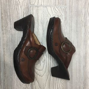 Born brown leather clogs with buckle detail